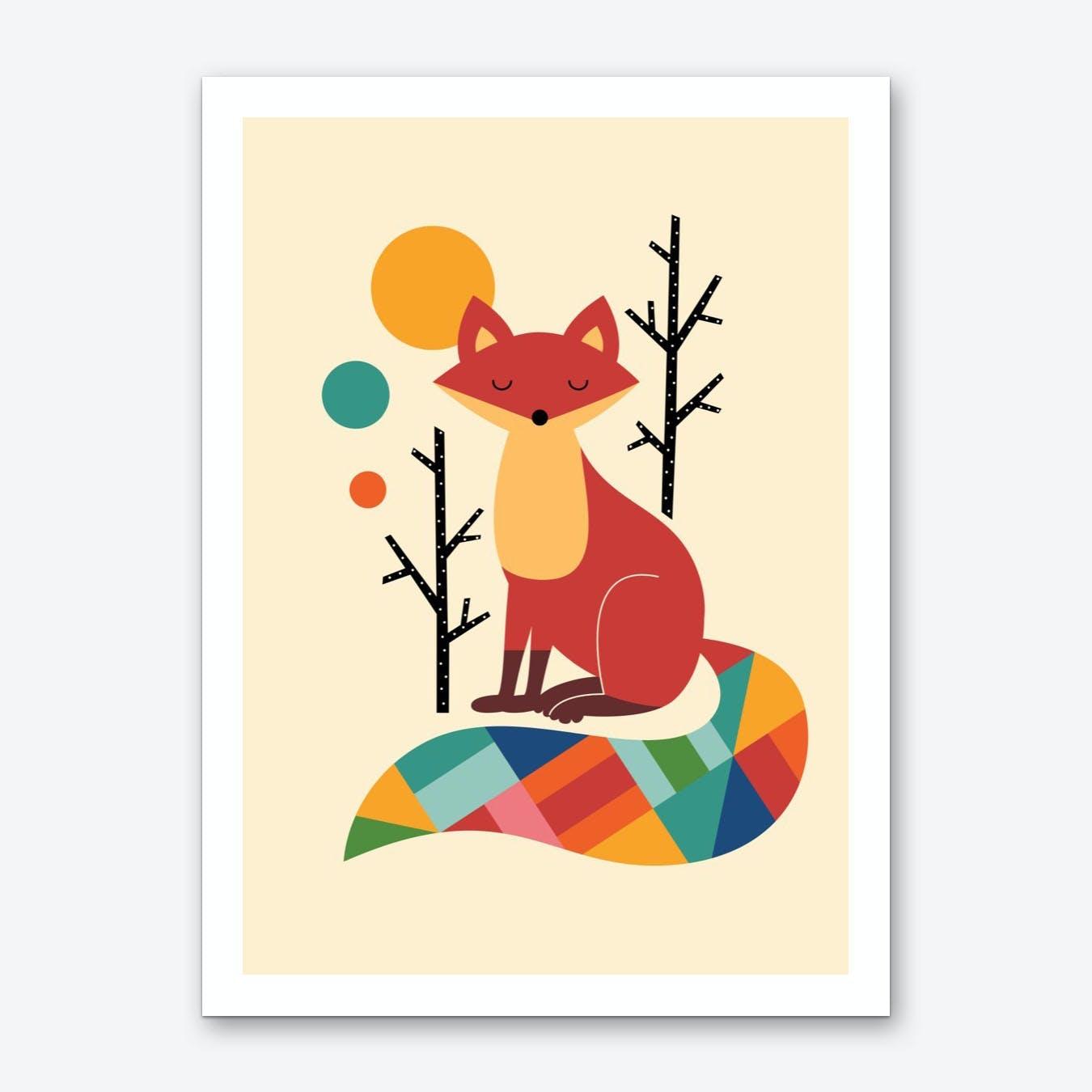 Rainbow Fox Art Print