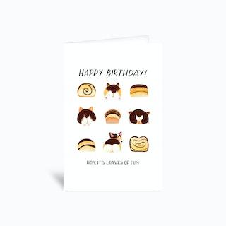 Corgi Butt Birthday Card Tricolor 4x6 Greetings Card