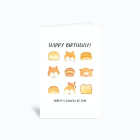 Corgi Butt Birthday Card Tan 4x6 Greetings Card