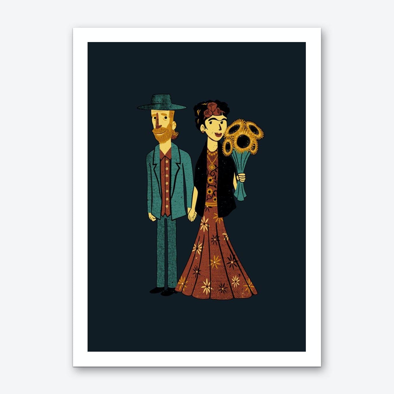 Love is Art Frida Kahlo and Van Gogh Art Print