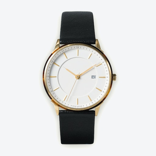 BÖRJA - Gold Watch in Offwhite Face and Black Leather Strap