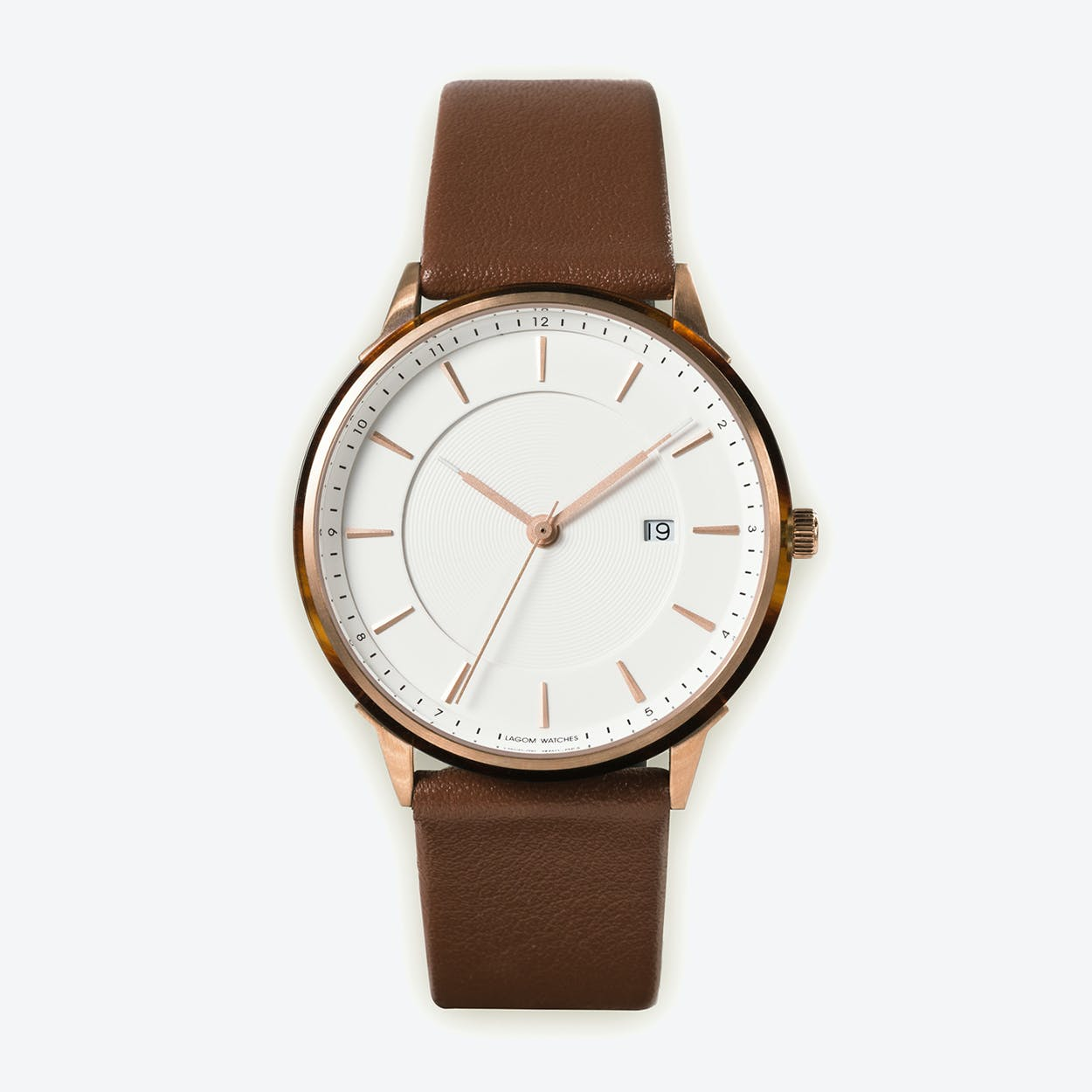 BÖRJA - Rose Gold Watch in Offwhite Face and Brown Leather Strap
