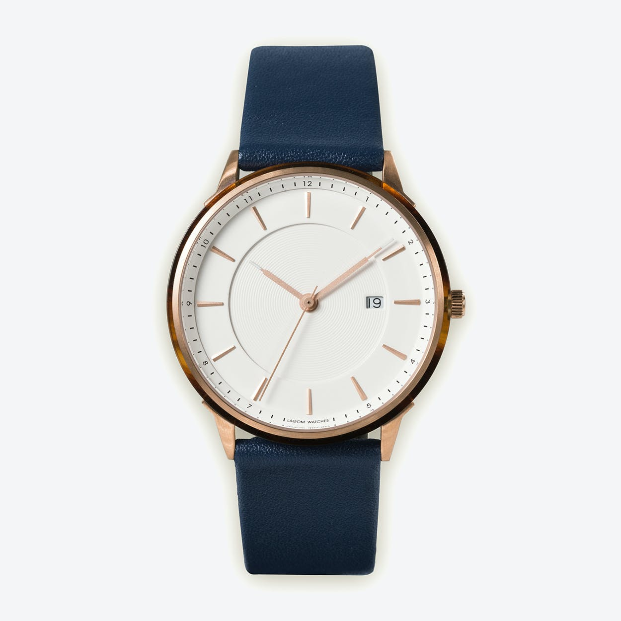 BÖRJA - Rose Gold Watch in Offwhite Face and Navy Blue Leather Strap