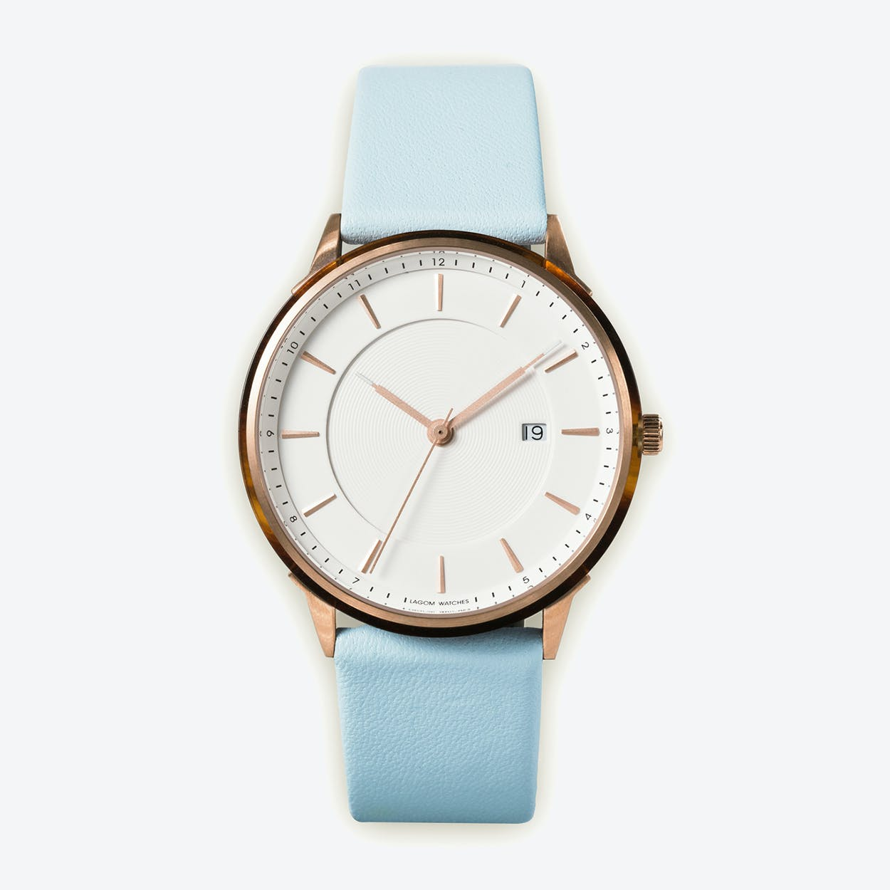 BÖRJA - Rose Gold Watch in Offwhite Face and Pale Blue Leather Strap