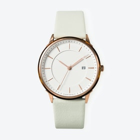 BÖRJA - Rose Gold Watch in Offwhite Face and Mint Leather Strap