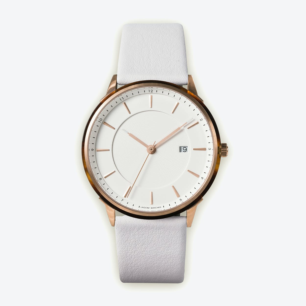 BÖRJA - Rose Gold Watch in Offwhite Face and Linio White Leather Strap