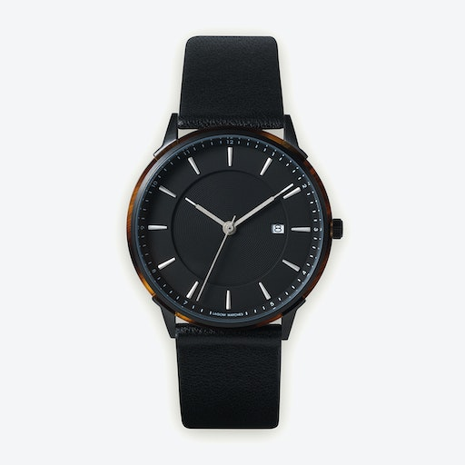 BÖRJA - Black Watch in Black Face and Black Leather Strap