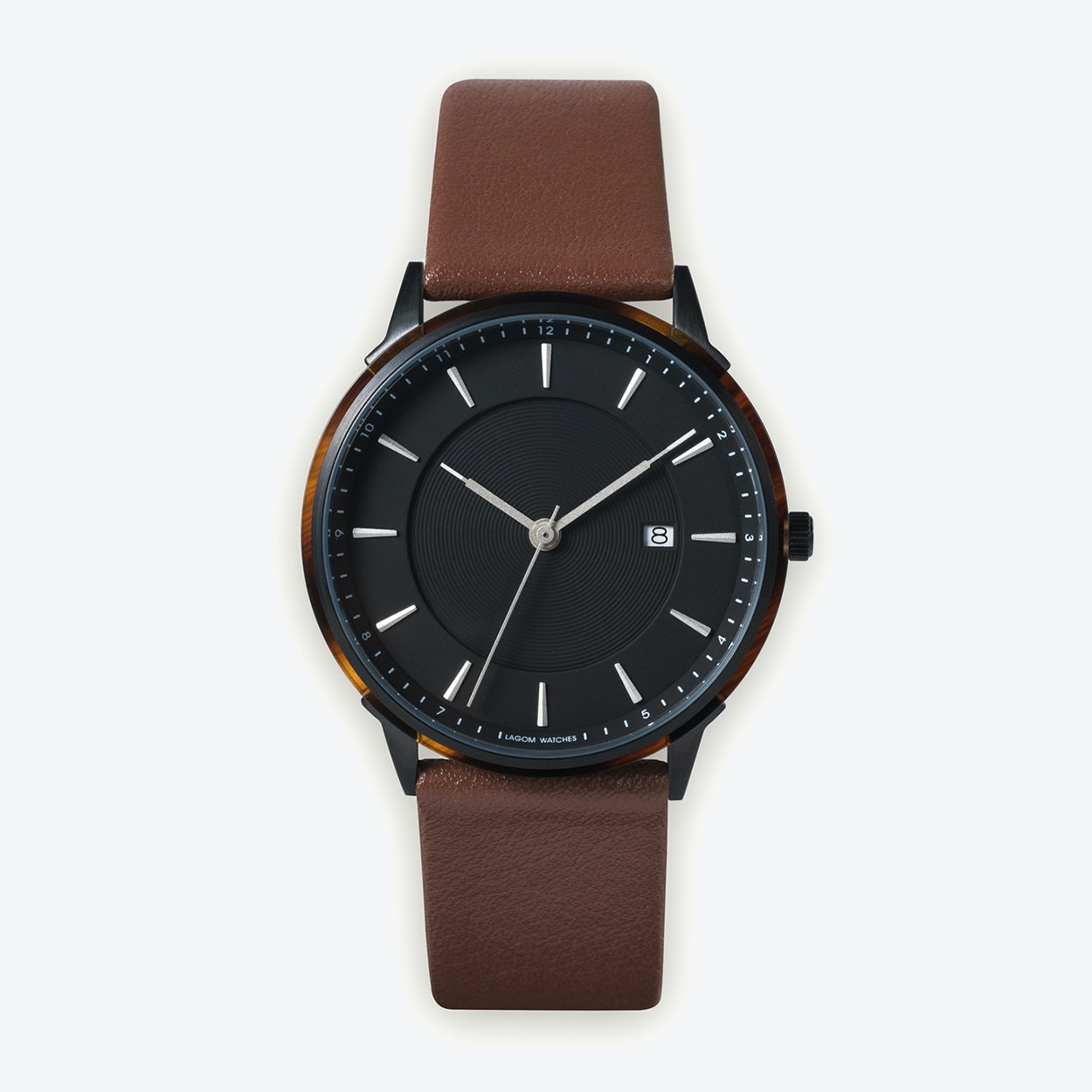 Borja Black Watch In Black Face And Brown Leather Strap