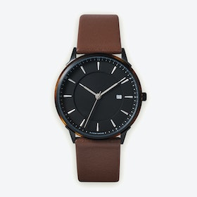BÖRJA - Black Watch in Black Face and Brown Leather Strap
