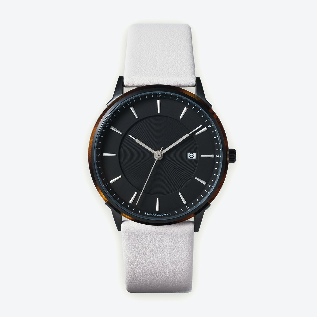 BÖRJA - Black Watch in Black Face and Linio White Leather Strap
