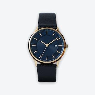 BÖRJA - Gold Watch in Dark Blue Face & Black Leather Strap
