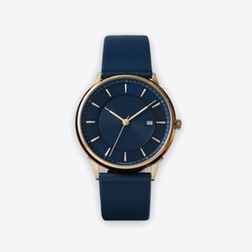 BÖRJA - Gold Watch in Dark Blue Face & Navy Leather Strap