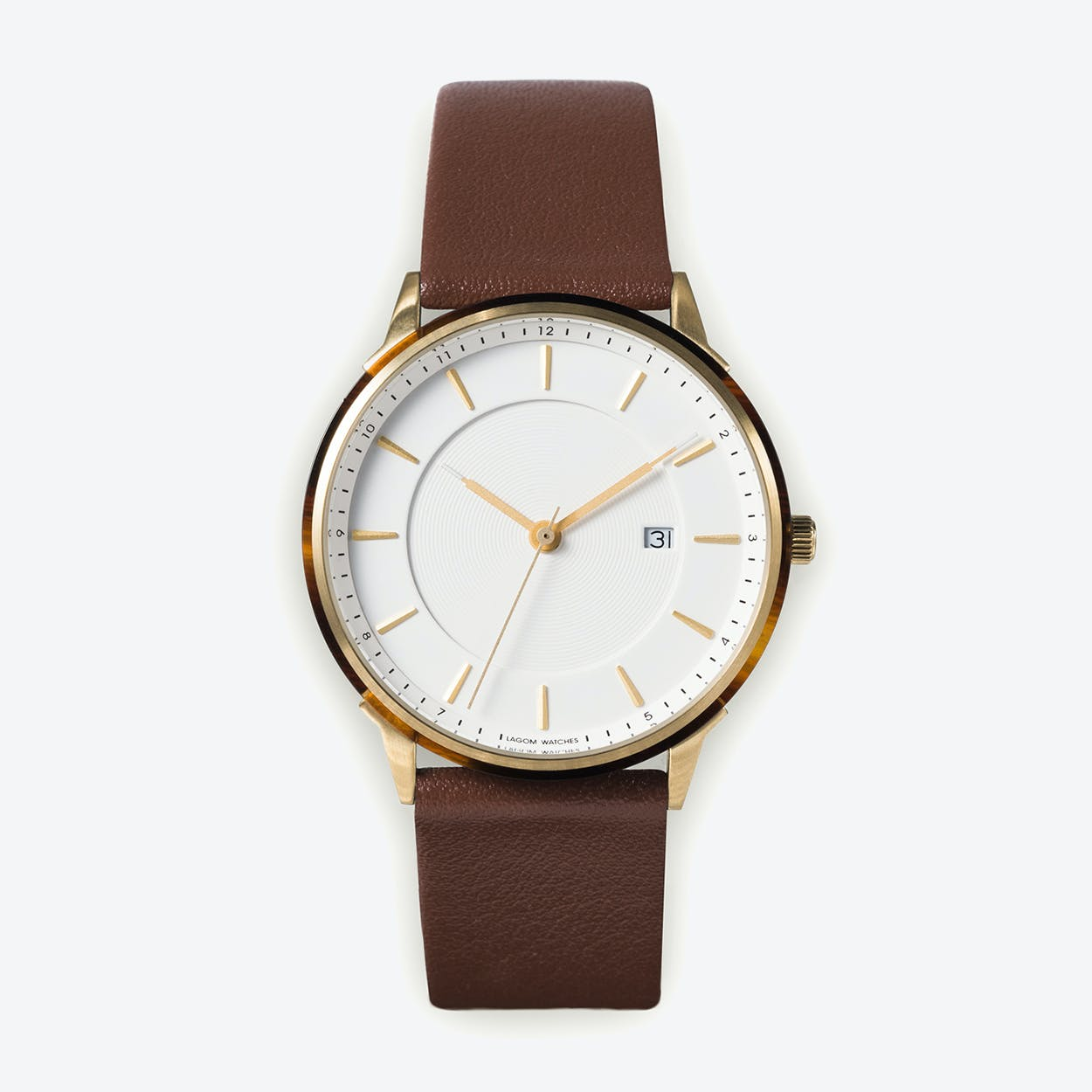 BÖRJA - Gold Watch in Offwhite Face and Brown Leather Stripe