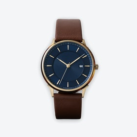 BÖRJA - Gold Watch in Dark Blue Face & Brown Leather Strap