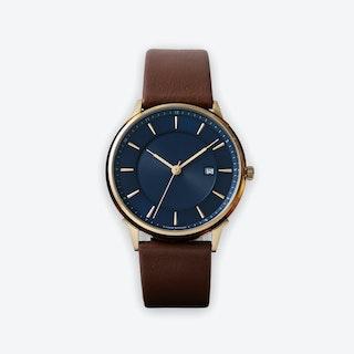 BÖRJA - Gold Watch in Dark Blue Face & Brown Leather Strap