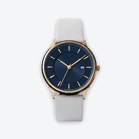 BÖRJA - Gold Watch in Dark Blue Face & Linio Leather Strap