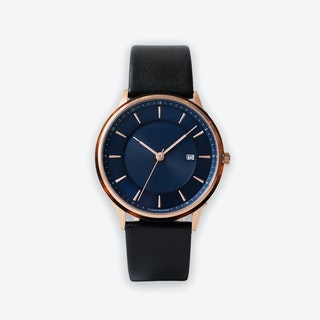 BÖRJA - Rose Gold Watch in Dark Blue Face & Black Leather Strap