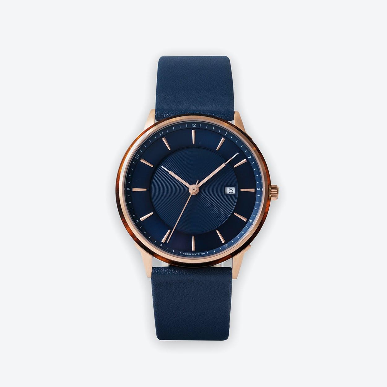 BÖRJA - Rose Gold Watch in Dark Blue Face & Navy Leather Strap