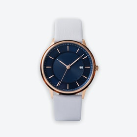 BÖRJA - Rose Gold Watch in Dark Blue Face & Linio Leather Strap