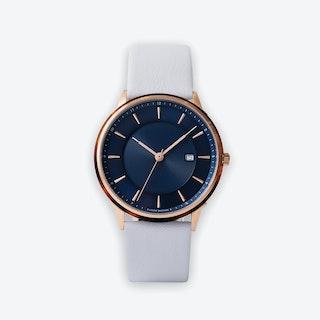 BÖRJA - Rose Gold Watch in Dark Blue Face & Linio Leather Strap