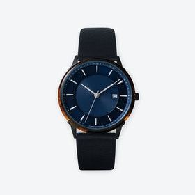 BÖRJA - Black Watch in Dark Blue Face & Black Leather Strap