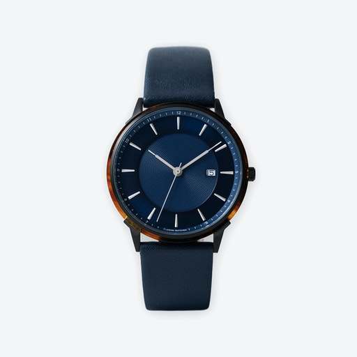 BÖRJA - Black Watch in Dark Blue Face & Navy Leather Strap