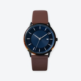 BÖRJA - Black Watch in Dark Blue Face & Brown Leather Strap