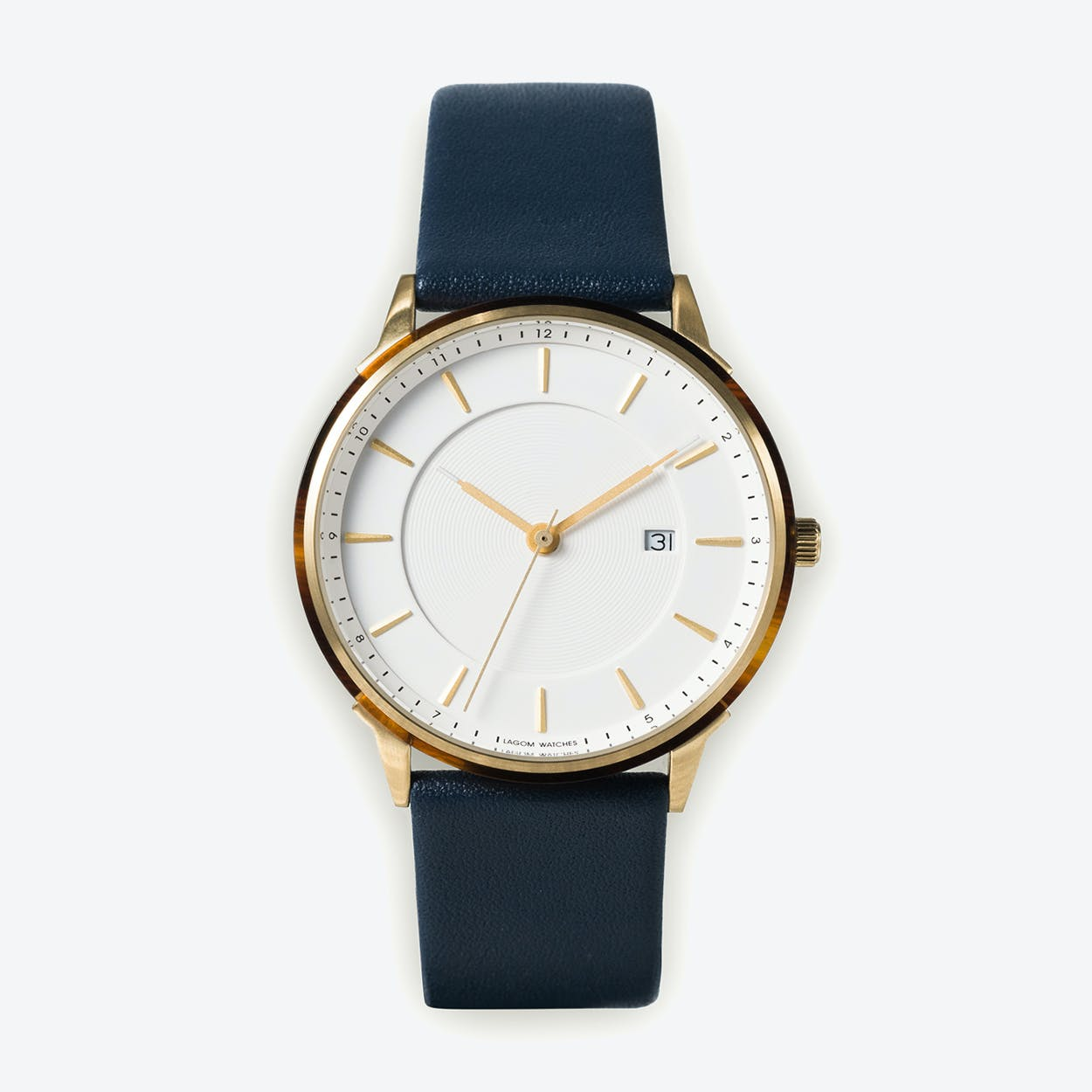 BÖRJA - Gold Watch in Offwhite Face and Navy Blue Leather Strap