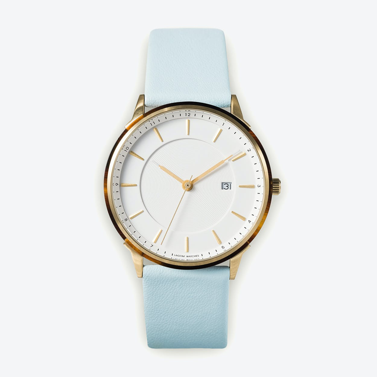 BÖRJA - Gold Watch in Offwhite Face and Pale Blue Leather Stripe