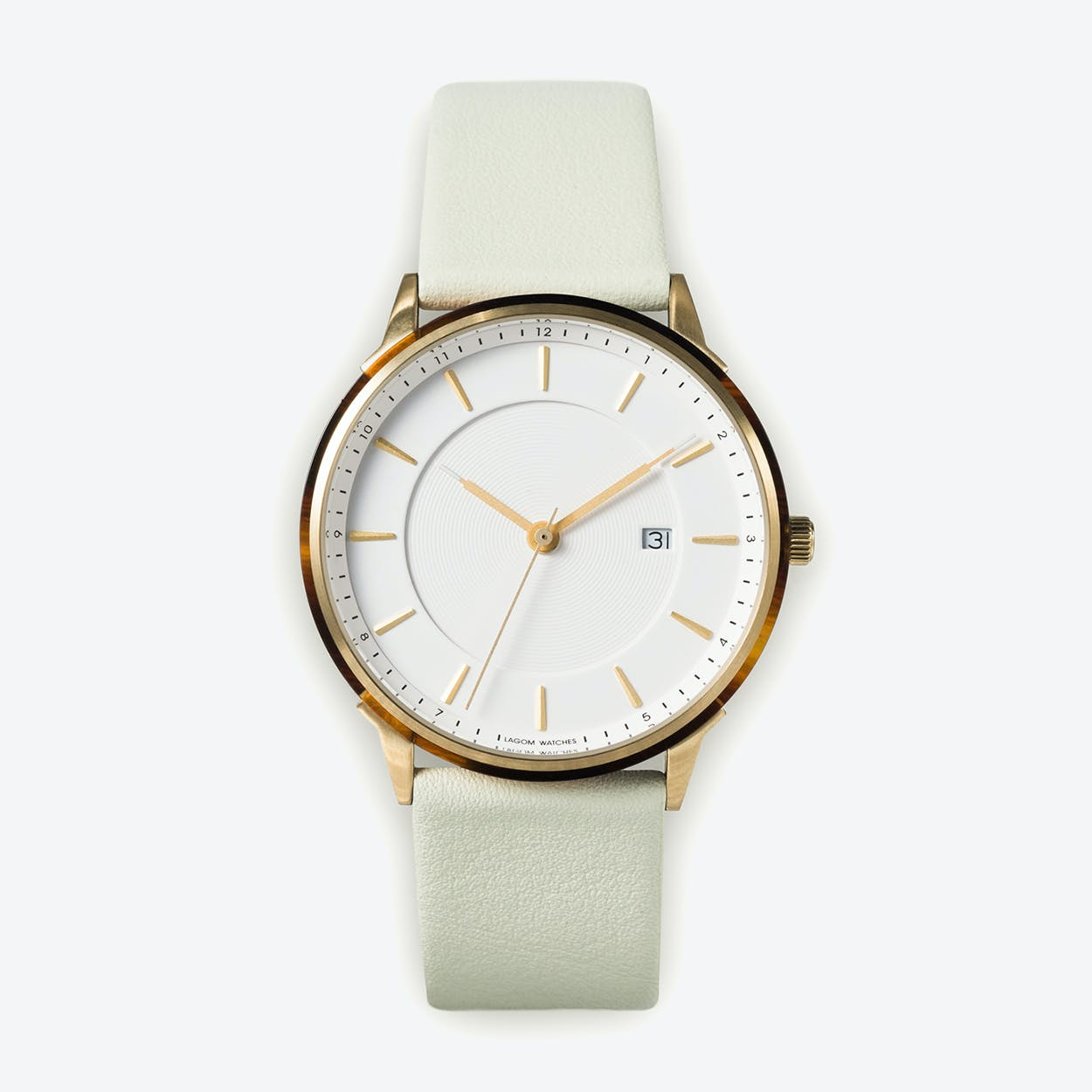 BÖRJA - Gold Watch in Offwhite Face and Mint Leather Stripe