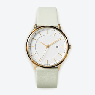 BÖRJA - Gold Watch in Offwhite Face and Mint Leather Strap