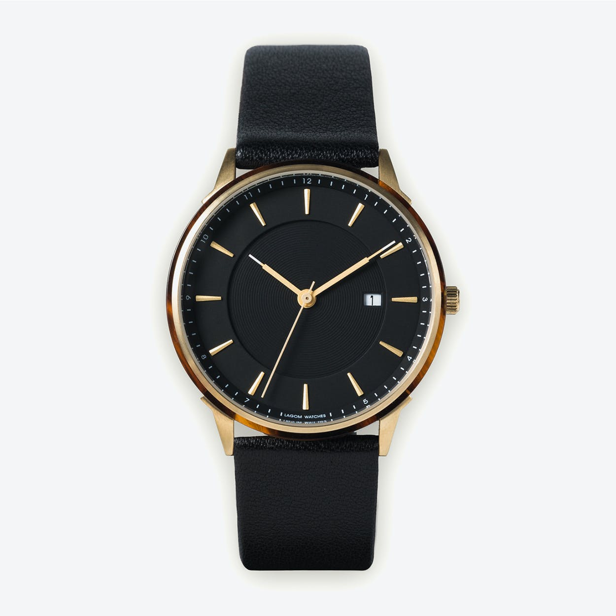 BÖRJA - Gold Watch in Black Face and Black Leather Strap