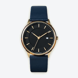 BÖRJA - Gold Watch in Black Face and Navy Blue Leather Strap