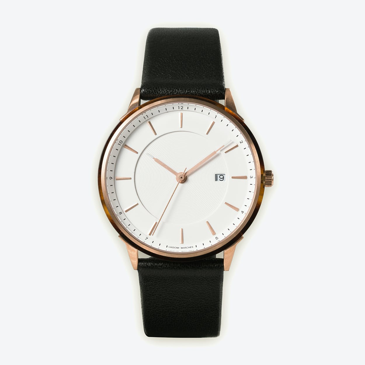 BÖRJA - Rose Gold Watch in Offwhite Face and Black Leather Strap