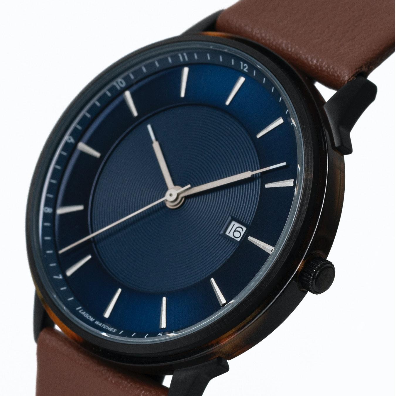 Borja Black Watch In Dark Blue Face Brown Leather Strap