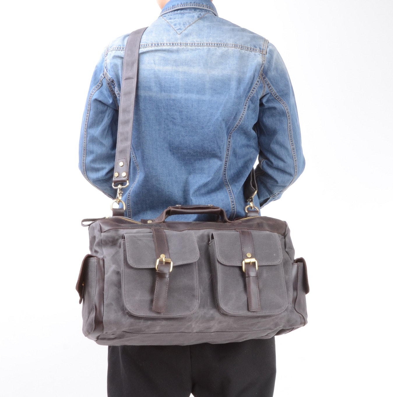 d53b3e1782e Waxed Canvas Double Front Pockets Weekend Travel Bag in Grey by Eazo - Fy