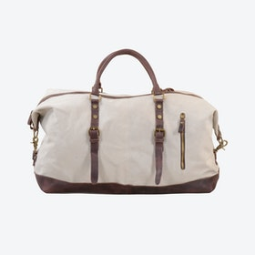 Canvas Classic Travel Holdall Bag in Beige