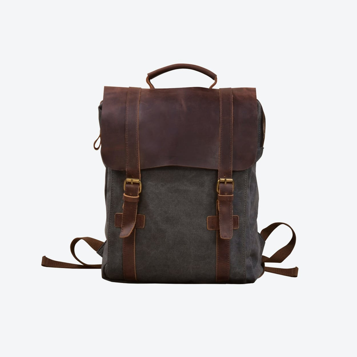 Canvas And Leather Backpack in Grey