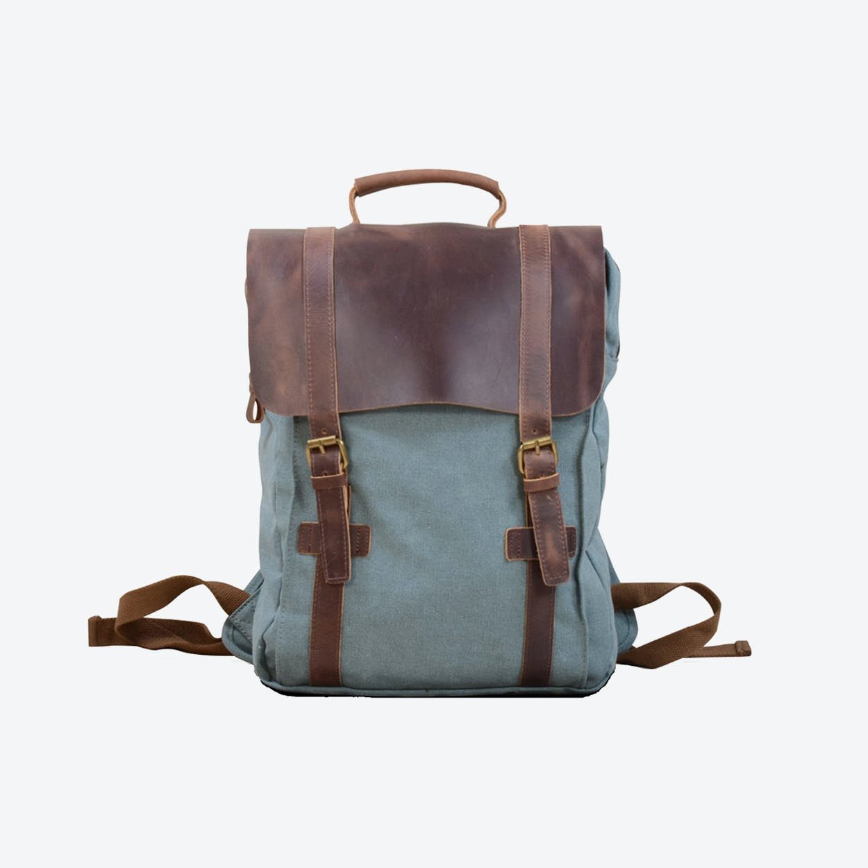 Canvas And Leather Backpack in Blue