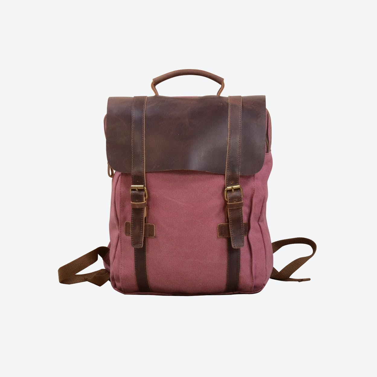 Canvas And Leather Backpack in Pink