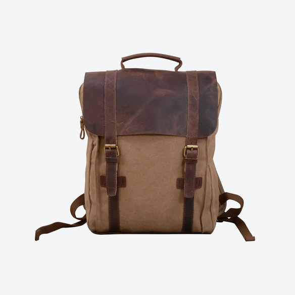 ecaa85df0f Canvas And Leather Backpack in Khaki by Eazo - Fy