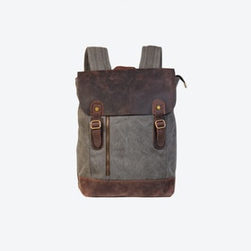 Canvas And Leather Zip Detail Backpack in Grey