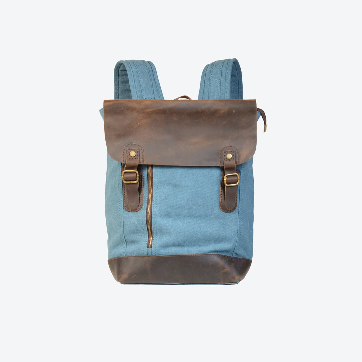 Canvas And Leather Zip Detail Backpack in Blue