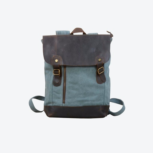 Canvas And Leather Zip Detail Backpack in Green