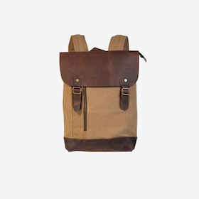 Canvas And Leather Zip Detail Backpack in Khaki