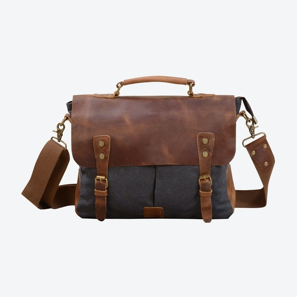 Canvas And Leather Messenger Bag in Grey by Eazo - Fy 188bed650d7a3