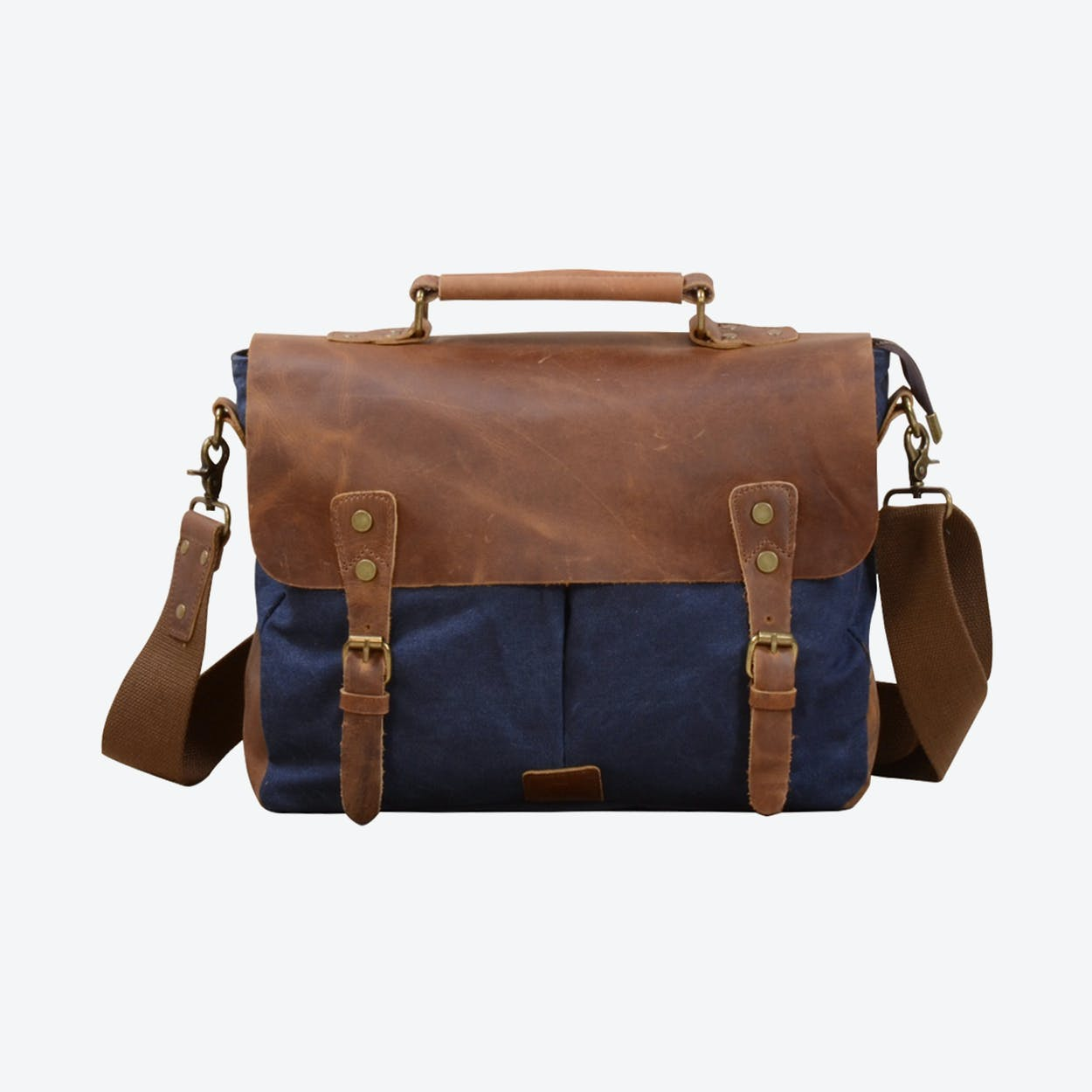 Canvas And Leather Messenger Bag  in Blue
