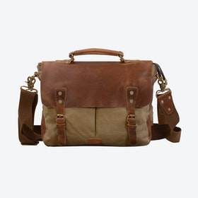 Canvas And Leather Messenger Bag in Khaki