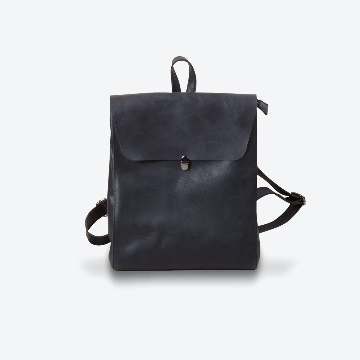 Minimalist Genuine Grain Leather Backpack in Black