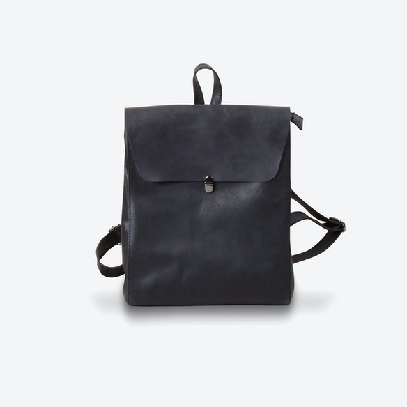 eb8a1465c6 Minimalist Genuine Grain Leather Backpack in Black by Eazo - Fy